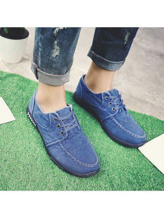 الدانتيل يصل الدنيم الأحذية عارضة - أزرق 42