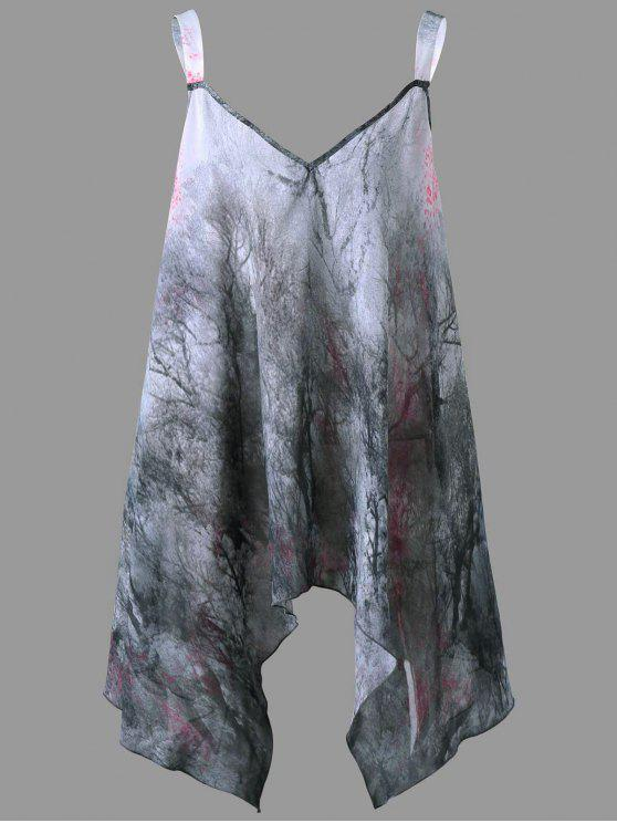 aba90dbd3a4 2019 Plus Size Graphic Handkerchief Flowy Tank Top In GRAY 3XL