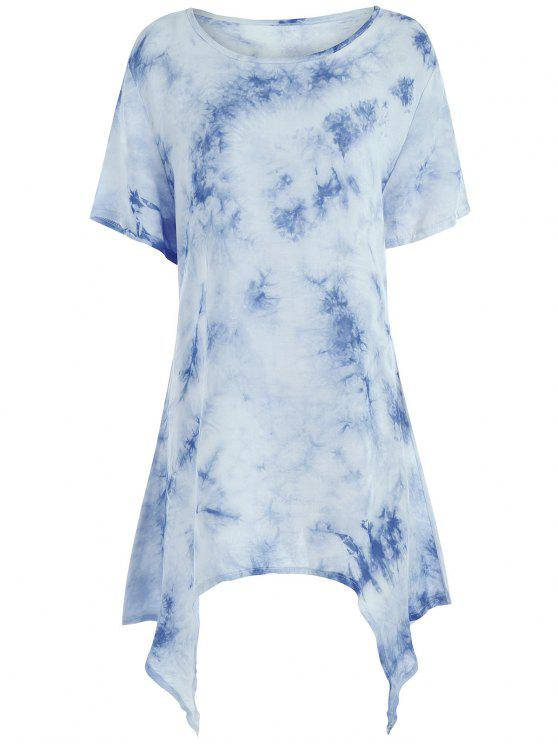 1c81e09d63a1 2018 Tie Dye Asymmetrical Plus Size Tunic Top In BLUE 4XL