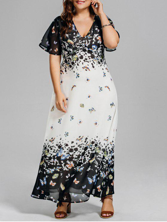 Plus Size Butterfly Print Long Beach Dress COLORMIX