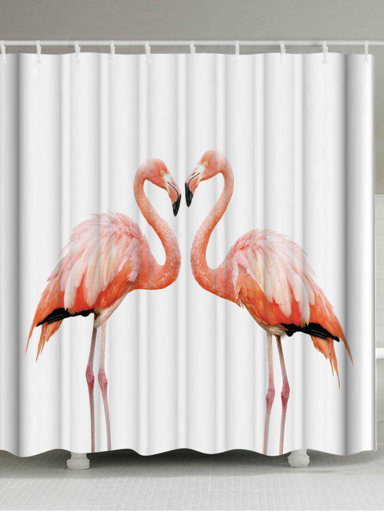 Extra Long Shower Curtain With Flamingo Print