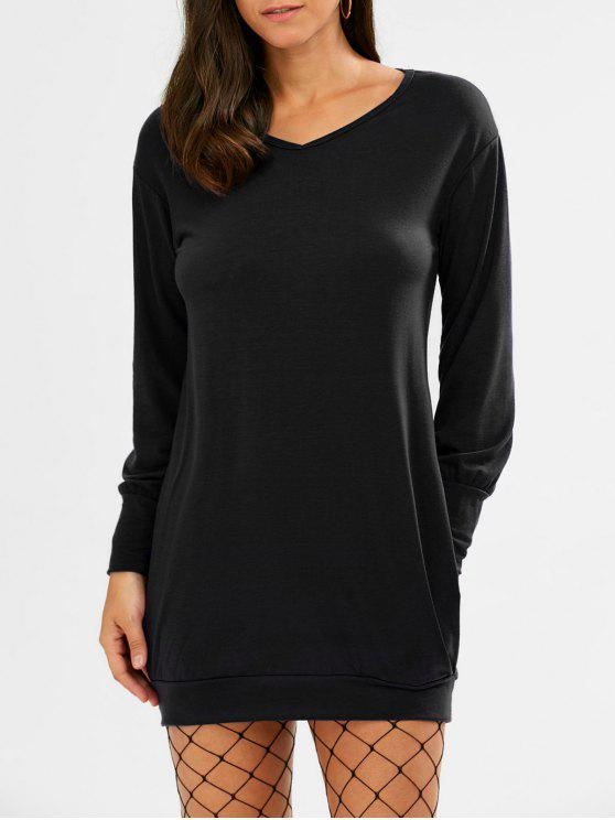 كم طويل قصير تونك تي شيرت اللباس - أسود XL