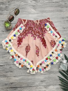 Pom Pom Beach Cover Up Shorts - Multicolor S
