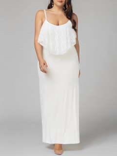 Plus Size Lace Panel Ruffles Prom Dress - White Xl