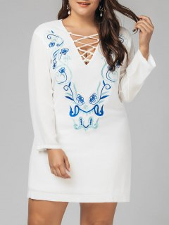 Plus Size Criss Cross Embroidered Dress - White 4xl