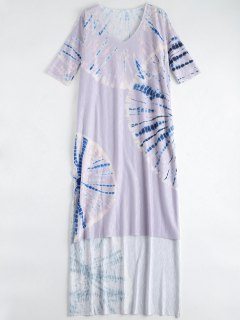 Tie Dye Beach Long Dress Cover Up - Purple S
