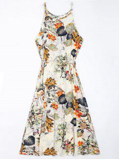 Floral Leaves Print High Slit Maxi Dress - Floral M