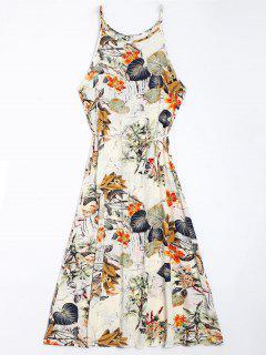Floral Leaves Print High Slit Maxi Dress - Floral 2xl