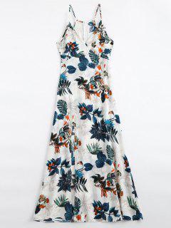 Leaves Print Slit Cami Maxi Dress - Multi S