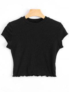 Ruffled Cropped Ribbed Top - Black M