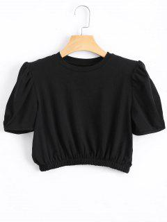Padded Shoulder Elastic Waist Cropped Top - Black
