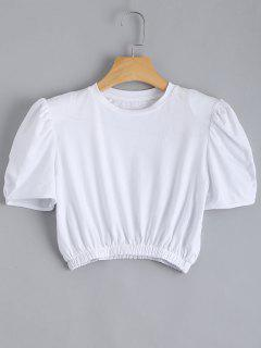 Padded Shoulder Elastic Waist Cropped Top - White