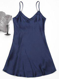 Cami Satin Babydoll Dress - Purplish Blue M