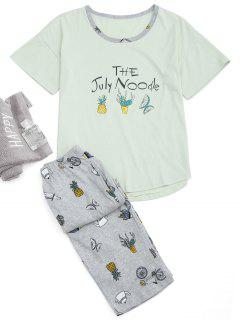 Loungewear Cartoon Print T-Shirt And Capri Pants - Light Green M