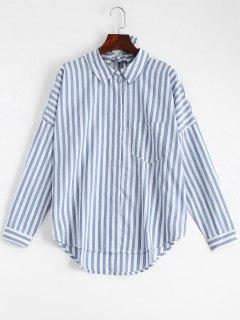 Bowknot Stripes Shirt With Pocket - Stripe S