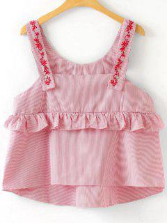 Loose Ruffles Embroidered Tank Top - Stripe S