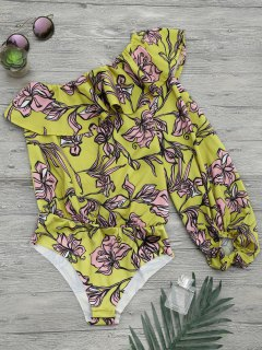 Floral Print Ruffle One Shoulder Bodysuit - Yellow S