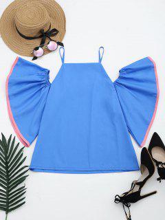 Flare Hülse Kalte Schulter Cami Bluse - Blau