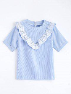 Lace Panel Ruffle Hem Striped Blouse - Light Blue L