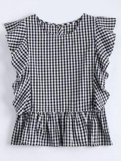 Ruffle Hem Checked Blouse - Checked L