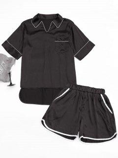 High Low Satin Top With Piping Shorts - Black M