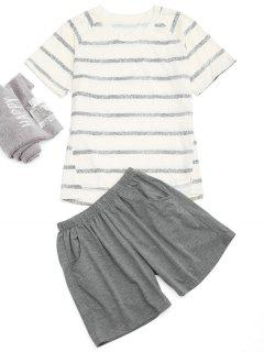 Raglan Sleeve Striped T-Shirt And Pocket Shorts - Off-white Xl