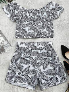 Leaves Print Top And Shorts Set - White And Black Xl