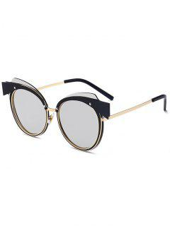 Cat Eye Metal Splicing Frame Sunglasses - Gold Frame + Silver Lens