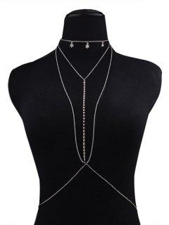 Rhinestoned Star Beach Body Chain - Silver