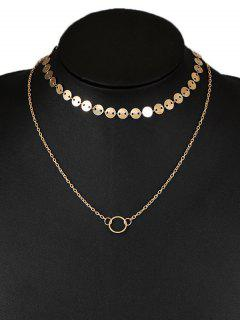 Circle Disc Layered Collarbone Pendant Necklace - Golden
