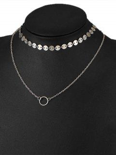 Circle Disc Layered Collarbone Pendant Necklace - Silver