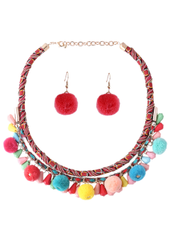 Ethnic Fuzzy Ball Necklace With Earring Set