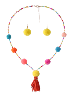 Fuzzy Ball Beaded Tassel Necklace With Earring Set