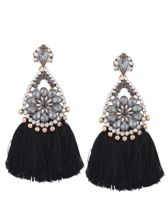 Rhinestone Tassel Floral Teardrop Earrings - Black