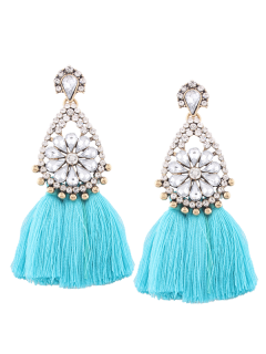 Rhinestone Tassel Floral Teardrop Earrings - Blue