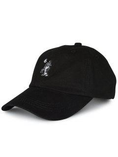 Number Palms Embroidery Baseball Cap - Black