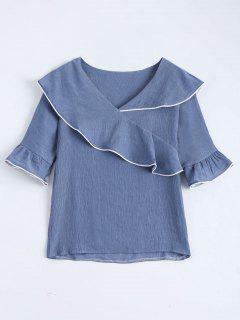 V-Ausschnitt Flounce Flare SLeeve Bluse - Blaugrau