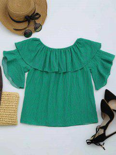Flounce Off The Shoulder Striped Blouse - Green