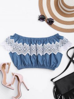 Lace Panel Off Shoulder Cropped Top - Denim Blue S