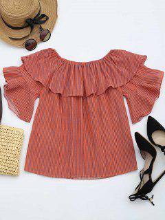 Flounce Off The Shoulder Striped Blouse - Orange