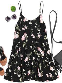 Vestido Floral Con Túnica De Resbalón - Floral S