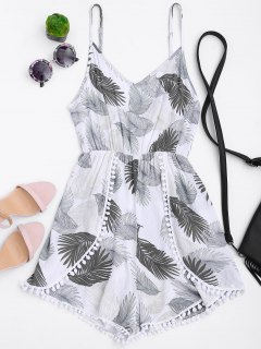Cami Tropical Layered Romper - White S