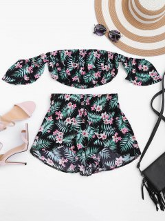 Floral Cropped Off Shoulder Top And Layered Shorts - Black S