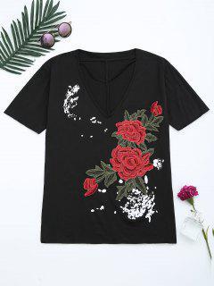 Floral Patched Cut Out Drop Shoulder Tee - Black L