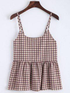 Flounce Checked Cami Top - Checked Xl
