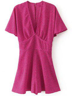 Batwing Sleeve Polka Dot Romper - Rose Red S