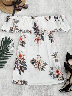 Floral Print Flounce Hem Shift Dress - White L