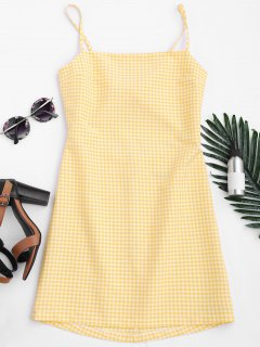 Checked Bowknot Cut Out Mini Dress - Checked L