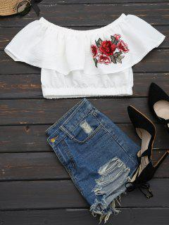 Floral Patched Flounce Crop Blouse - White L