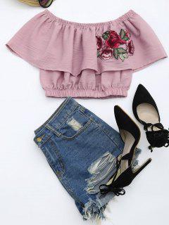 Crop Bluse Mit Blumen Patch Und Volants - Rötlich Getönt Grau S